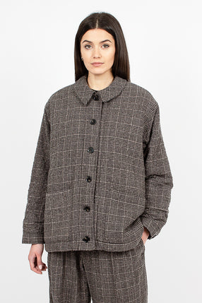 Fanny Jacket Brown Check Crumpled Wool