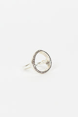 Fidji Silver/Icy Grey Diamond Circle Ring