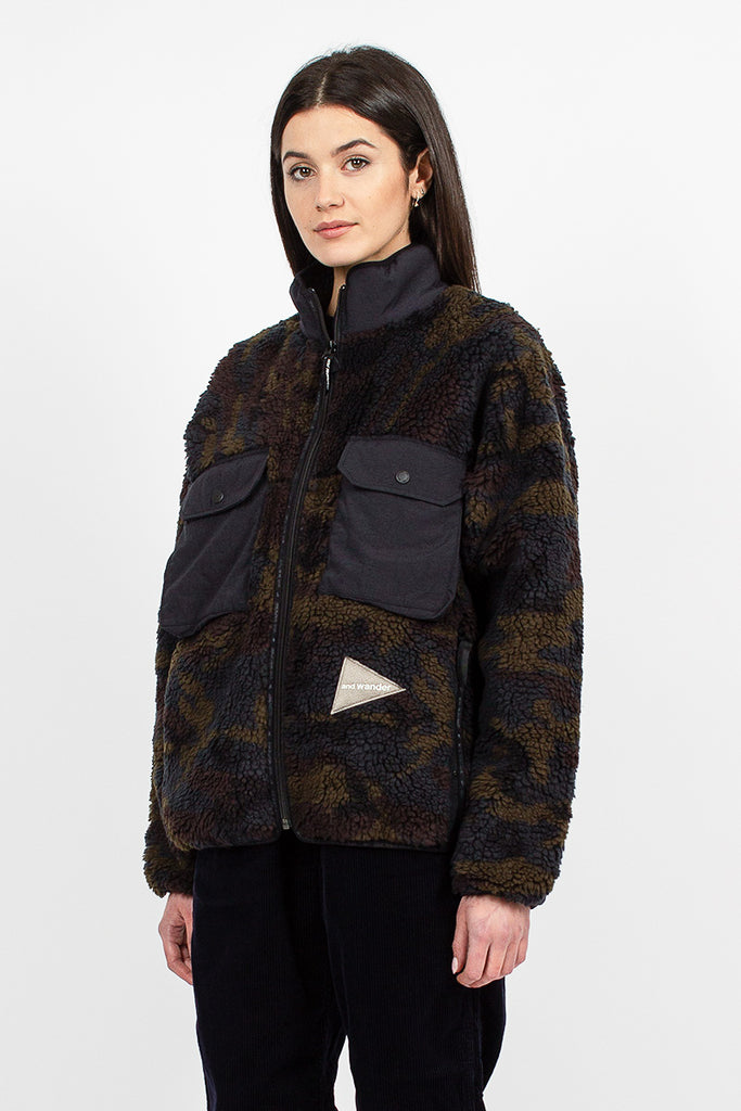Boa Fleece Jacket Camo Khaki Jacquard