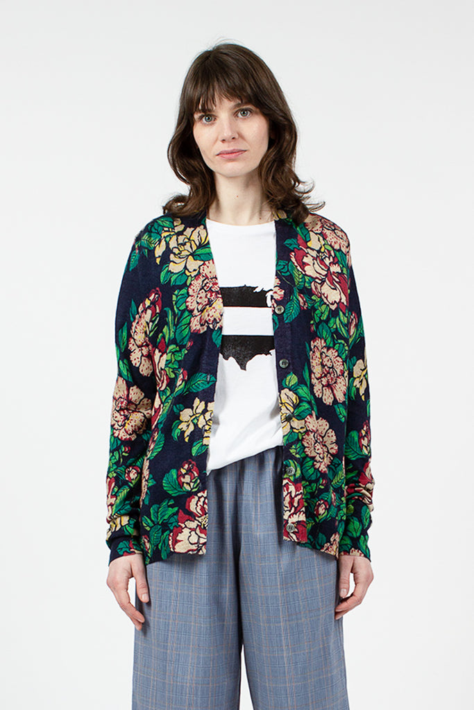 Floral Navy Boy Cardigan
