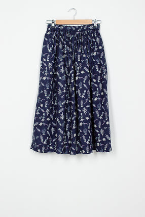 Linen Navy Flower Skirt