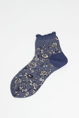 Flower Carpet Blue Sock