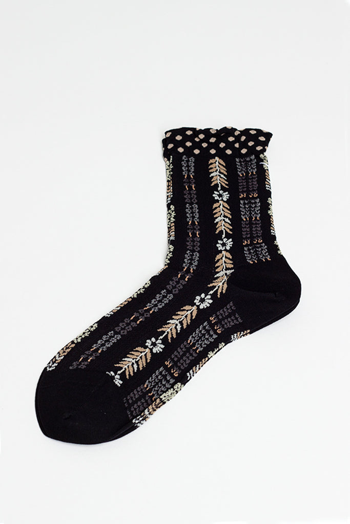 Flower Road Black Sock