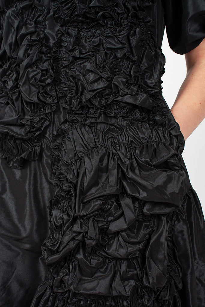 Black Floral Taffeta Dress