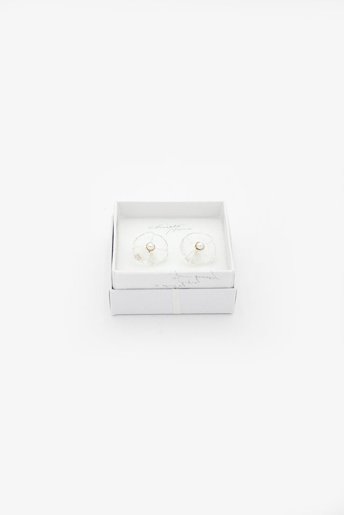 Clear Glass Stamen Flower Earrings