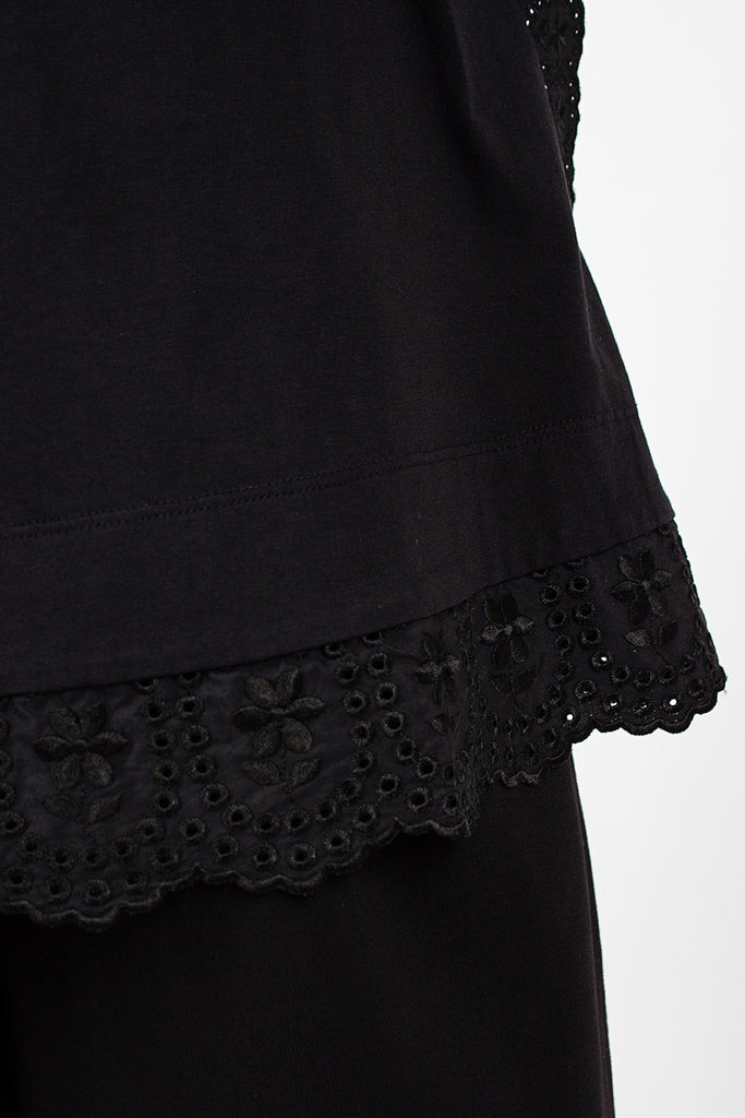 Embroidered Trim T-Shirt Black