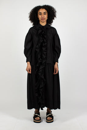 Frill Front Pleated Smock Dress Black