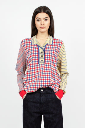 Gordon L/S Knit Polo Multi Check Viscose