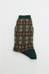 Green/Aubergine Diamond Sock