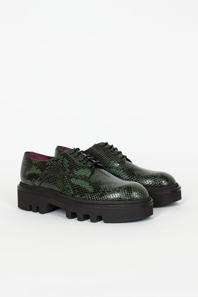 Green Snake Printed Leather Derby