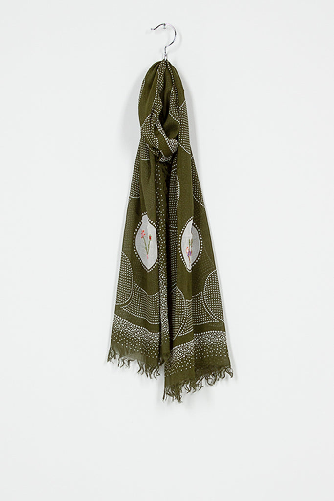 Floral Embroidery Dot Fringe Stole