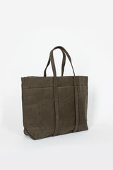 Khaki Washed Canvas 6 Pocket Tote