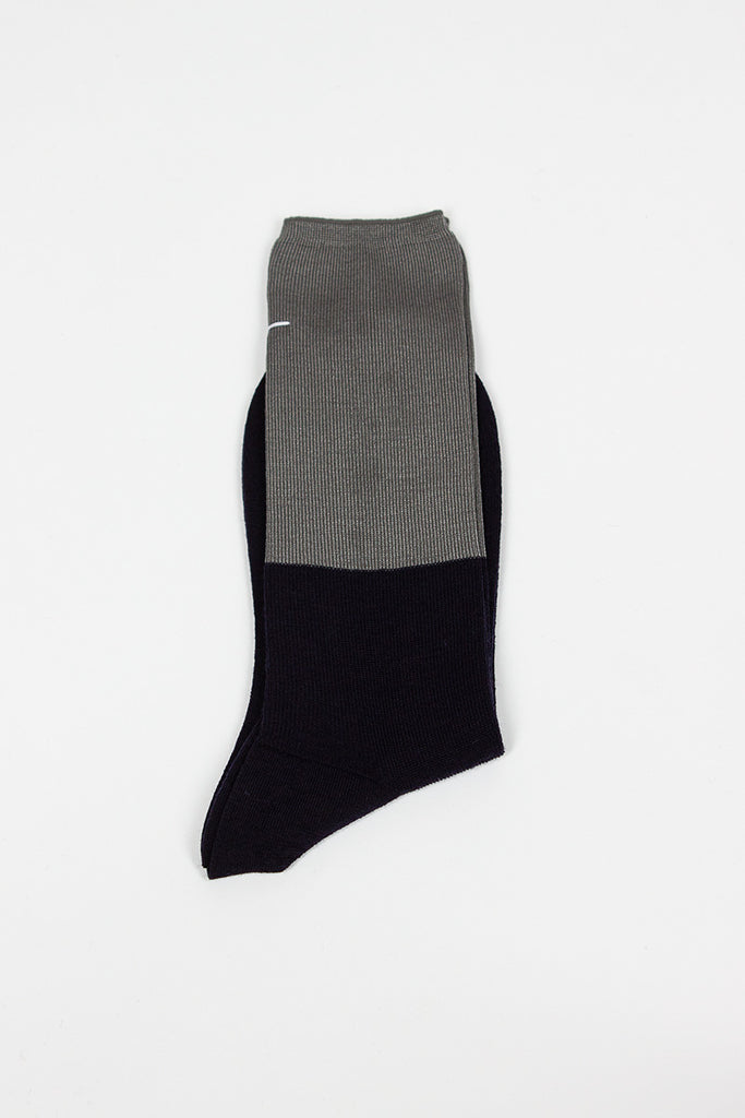 Navy/Charcoal High Sock