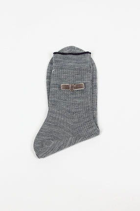 Grey Velvet Bow Sock