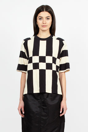 Hacienda Stripe Tee Black/Ecru Cotton Slub Jersey