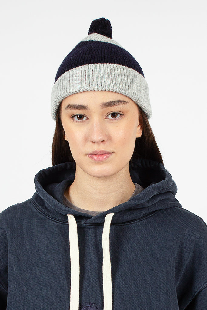 Striped Pom Pom Beanie Navy And Grey