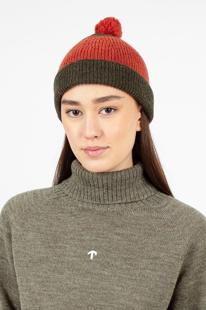 Striped Pom Pom Beanie Orange/Army