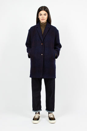 Heroes Check Virgin Wool Navy Coat