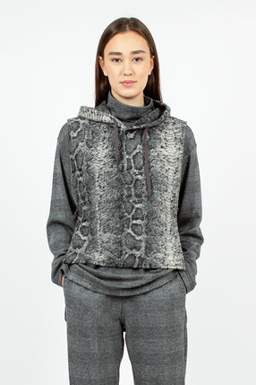Hooded Interliner Grey Poly Wool Snake Print
