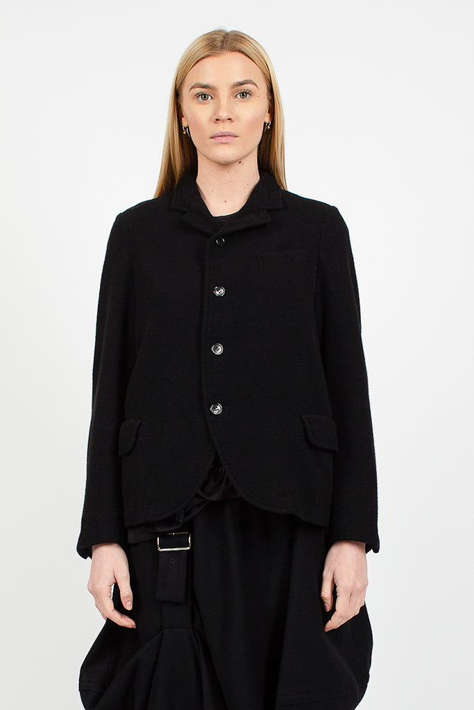 Notched Collar Soft Wool Black Jacket