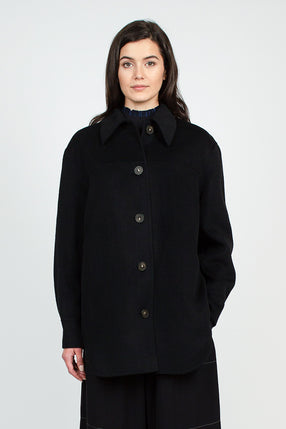 Black Wool Overshirt