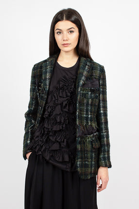 Green Tweed Distressed Wool Blazer