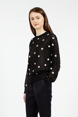 Black And Ecru Spot Jumper