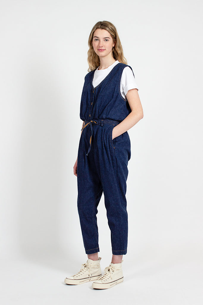 One Wash Denim Jump Suit