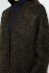Olive Brushed Mohair Cardigan