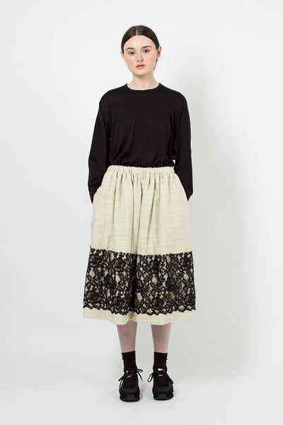 Ecru/Black Lace Applique Skirt