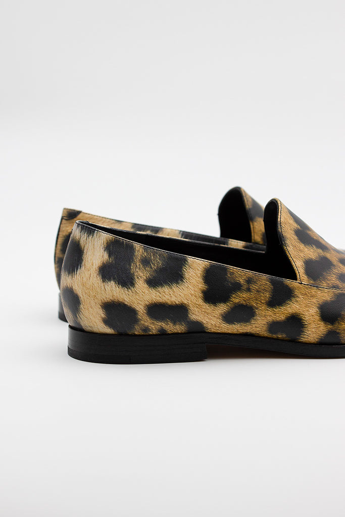 Leather Leopard Loafers