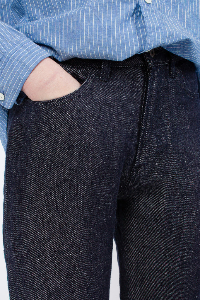 Navy Denim Linen Trouser
