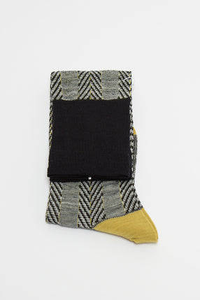 Yellow Asymmetric Stripe Knee Sock