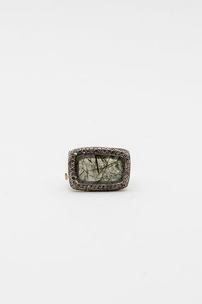 Lussi Green Quartz And Cognac Diamond Ring
