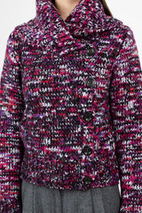 Madagascar Knit Cardigan Fuchsia Wool Blend