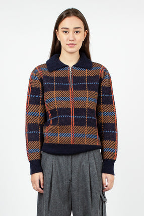 Maldives Quarter Zip Sweater Navy Check Wool Blend