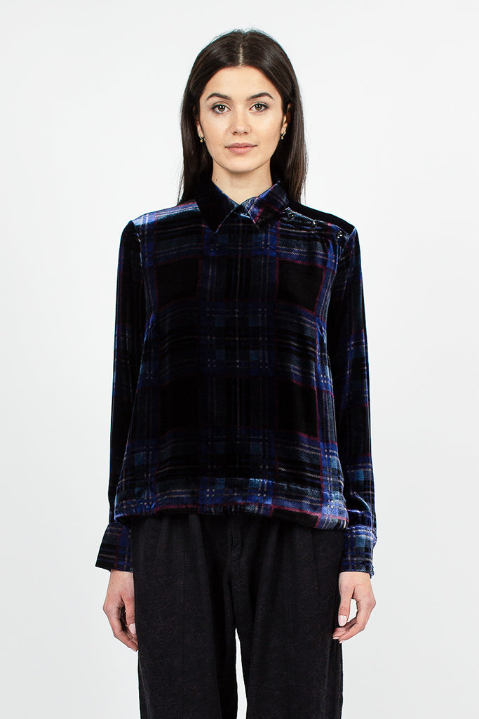 Marlene Shirt Black/Blue Check Velvet