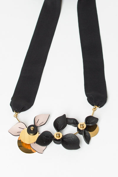 Three Flower Leather Necklace