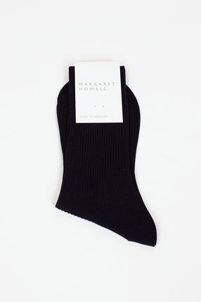 Navy Short Ribbed Sock