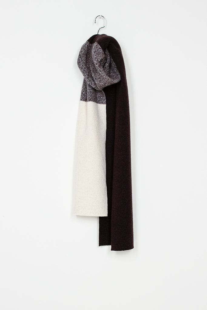 MHL Geelong Scarf Brown/Ecru Lambswool