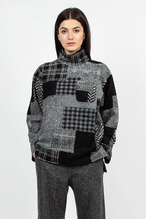 Mock Neck Grey Knit Patchwork Herringbone Top