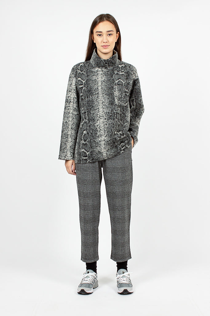 Mock Turtle Grey Poly Wool Snake Print Top
