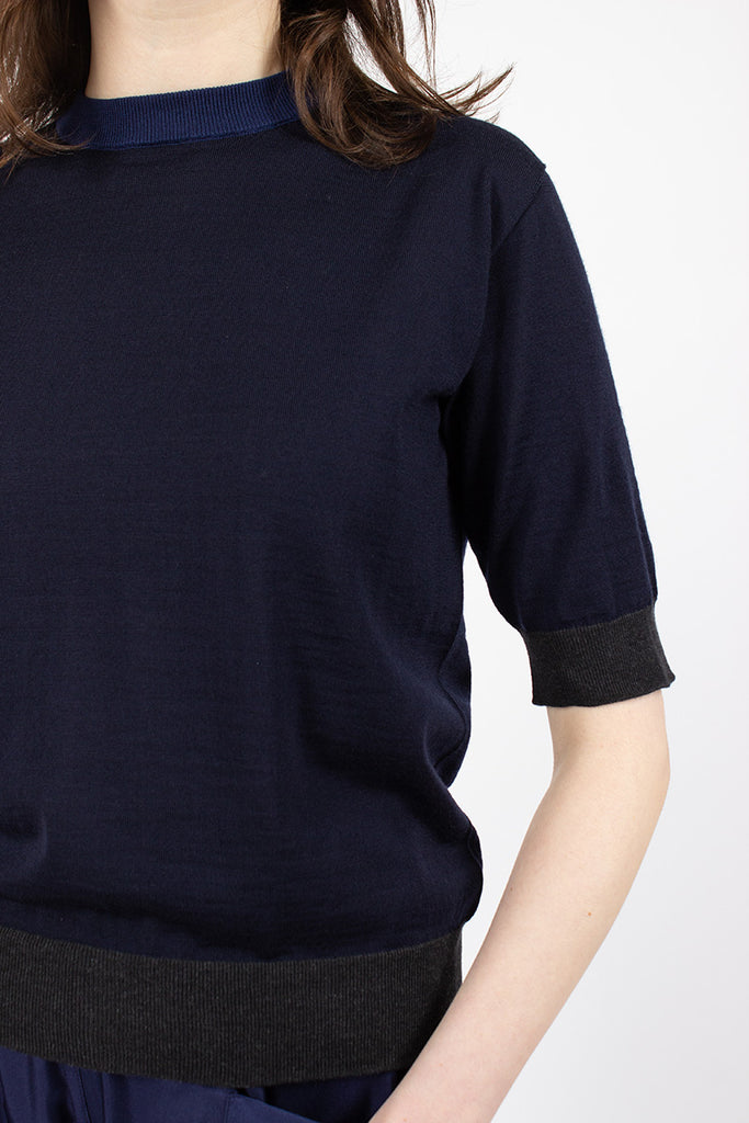 Muse Short Sleeve Knit Sweater Navy