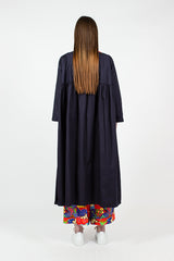 Navy Cocoon Cotton Coat