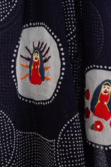 Maria Embroidery Navy Stole