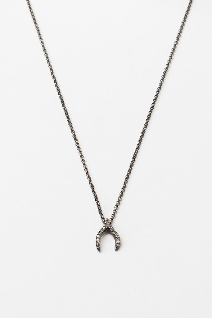 Oxidised Silver Lucky Bone Necklace