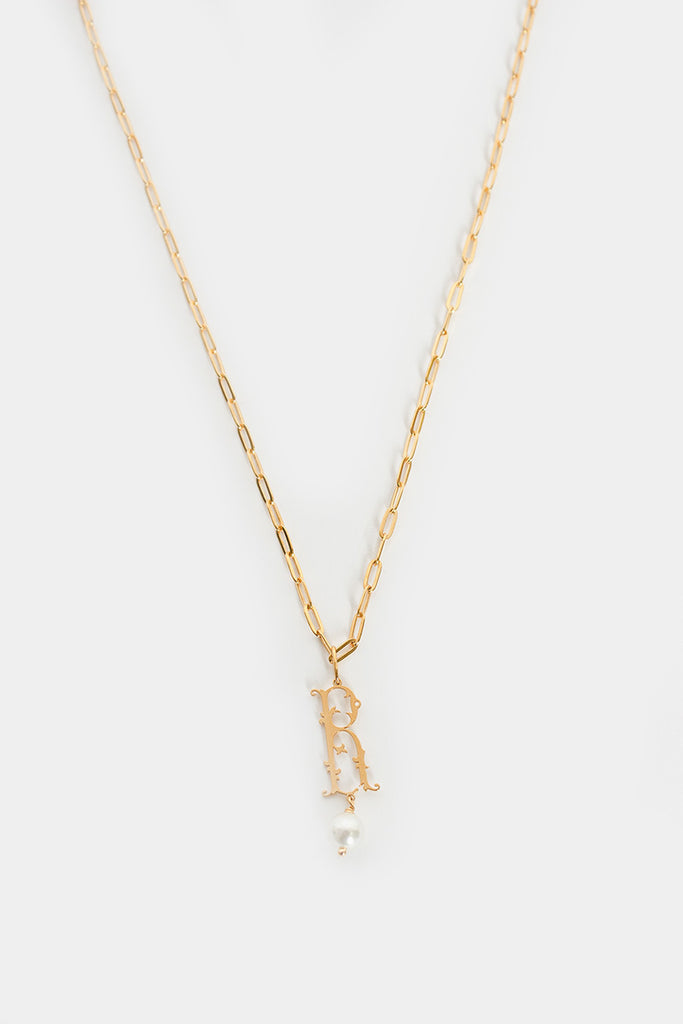 R Initial Pearl Necklace Gold