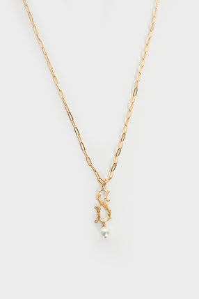 S Initial Pearl Necklace Gold