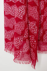 Red Cotton Gauze Papillon Bandana