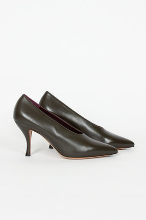 Olive Leather Pump